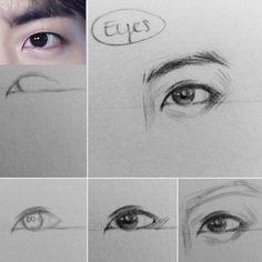 Art Drawings Sketches Simple, Kpop Drawings, Pencil Art Drawings, Realistic Drawings, Eye Drawing Tutorials, Drawing Techniques, Art Tutorials, Bts Eyes, Drawing Base