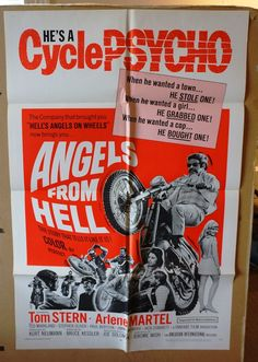 """Movie Poster  """"Angels From Hell""""  ORIGINAL 1968 Movie Poster One-Sheet -   RARE by MoviePostersAndMore on Etsy"""