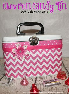 DIY Valentine Gift: Chevron Candy Tin #craft #sponsored by @Oriental Trading Company http://www.confessionsofanover-workedmom.com/2014/01/diy-valentine-gifts.html