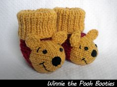 Winnie the Pooh Booties Knitting Pattern by pearlescent