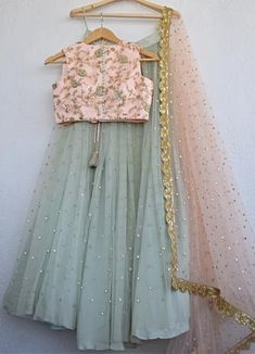 Blush Pink Mirror & Pearl Lehenga With Pale Turquoise Blue Blouse With Blush Mirror & Pearl Dupatta Indian Fashion Dresses, Indian Bridal Outfits, Indian Gowns Dresses, Dress Indian Style, Indian Designer Outfits, Indian Dresses For Kids, Pakistani Dresses, Indian Wear, Designer Party Wear Dresses