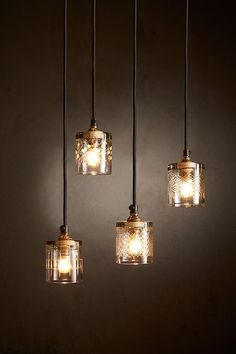 A delicate hand-cut scotch glass pendant light available in 4 designs.