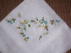 Vintage White Hanky with Embroidered Blue and White by HankyLady