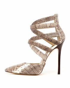 Gorgeous. +Arissa+Strappy+Snakeskin+Pump+by+Michael+Kors+at+Neiman+Marcus.