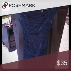 Ralph Lauren Evening Sequin Holiday Dress Gorgeous. Only worn once. Dark navy blue Sequin layer with mesh on top.size 8P but I am 5,8 and weigh 130. Normally a size 2. It fits me perfectly and hits right above the knee! Ralph Lauren Dresses