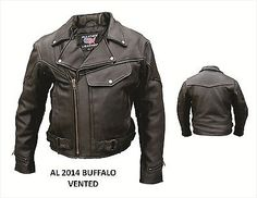 Mens New Buffalo Leather Motorcycle Biker Black Jacket Vintage Syle AL2014, Great Jacket Priced $50.00 Below Competitor Prices #srethng