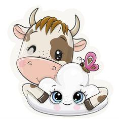 Cartoon Tiger, Kitten Cartoon, Cartoon Elephant, Cute Cartoon Girl, Cute Cartoon Animals, Cow Wallpaper, Baby Girl Shower Themes, Princess Cartoon, Cute Cows