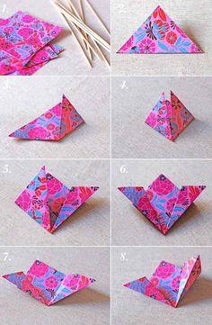 origami facile: comment faire des fleurs en papier multicolore