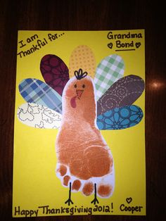 I don't want to get my foot covered in ink but a turkey with things we are thankful for on the feathers would be fun