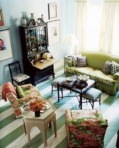 Green and White painted stripe floor. I so would love to do this.