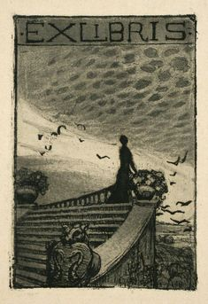 EX LIBRIS: Antique Book Plates : Woman on a Staircase. Ex Libris at Davidson Galleries