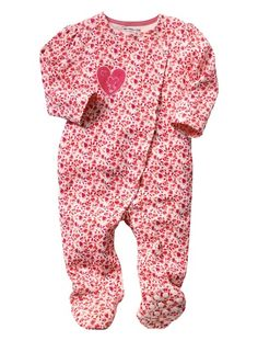 Baby Girl's Heart Embroidered Cotton Sleepsuit Pink print
