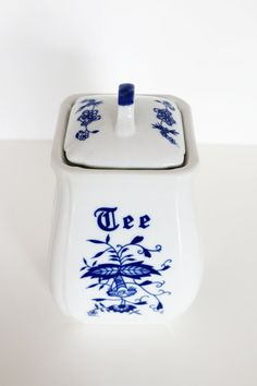 Vintage Blue Onion Tea Canister by MotherandSonVintage on Etsy, $15.00