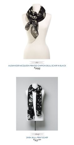 COPY CAT CHIC FASHION FIND | ALEXANDER MCQUEEN PRINTED CHIFFON SKULL SCARF IN BLACK
