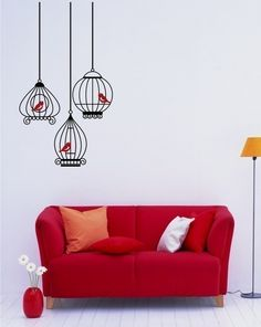 Birds in Birdcage Grouping - Vinyl Wall Decals Stickers Art