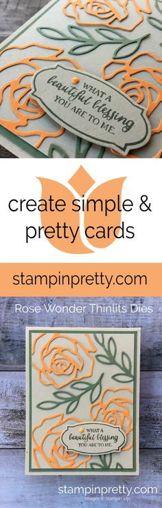 Rose Wonder Stamp Set and Coordinating Thinlits Dies by Stampin' Up! for a Thank You Card created by Mary Fish, Stampin' Pretty.  #maryfish #stampinpretty