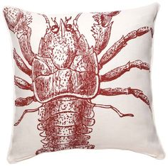 Thomas Paul 100% Linen  Lobster Sea-Life 22 inch Pillow * Click image for more details.