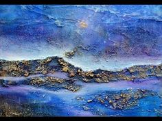 getlinkyoutube.com-Acrylic techniques / Acryltechniken: Little blue landscape /Kleine blaue Landschaft