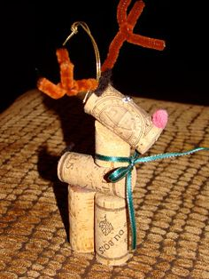 The Buzzy Bee: Buzziness #10 Reindeer Wine Cork Ornament