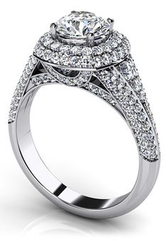 Deluxe Double Halo Diamond Engagement Ring ~ Anjolee