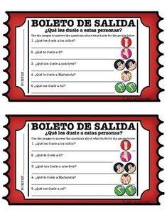 Spanish food vocab practice worksheets avancemos 1 unit 31 qu les duele a estas personas exit slip malvernweather Images