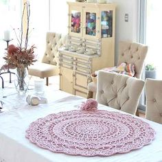 Chunky cotton crochet rug free pattern from RedAgape