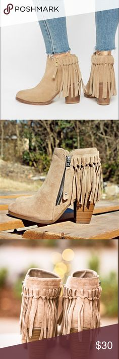 suede fringe ankle booties 🌻 Strut through the day in edgy style in these DV by Dolce Vita™ boots.💫 PRODUCT INFORMATION:     •Leather upper with tonal stitching and heel fringe detail. •Zip entry at sides. •Fabric lining and insole. •Durable man-made outsole. •True to size. American Eagle Outfitters Shoes Ankle Boots & Booties