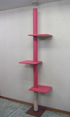 キャットタワー天井突っ張りタイプ(カーペット×麻縄巻タイプ・ピンク・棚板3枚)スリム猫タワー爪とぎつめとぎ省スペース