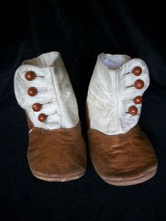 Antique Carmel Cream Leather High Top Button Baby Doll Shoes | eBay