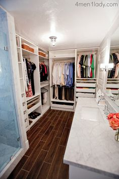 Closet/bathroom combo - this would work with our house. Let's Talk Money With Michelle of 4 Men, 1 Lady | Young House Love