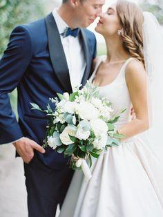 Elegant wedding bouquet idea - white flower + greenery bouquet for bride {Beautiful Bride Events}