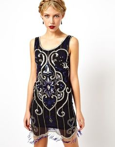 Wedding guest for 1920s wedding Frock and Frill Deco Shift Dress in All Over Sequin