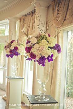 Country elegance florals - for ceremony, then reception foyer - California Weddings: http://www.pinterest.com/fresnoweddings/