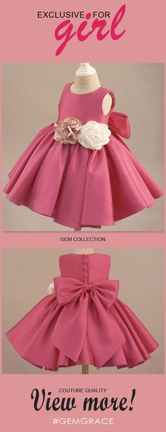 Shop Fuchsia Satin Classic Flower Girl Dress Elegant With Flowers And Bow online. Super cute styles with couture high quality. Cheap Flower Girl Dresses, Little Girl Dresses, Girls Dresses, Flower Girls, Cheap Dresses, Kids Frocks Design, Baby Frocks Designs, Baby Girl Dress Patterns, Baby Dress Design