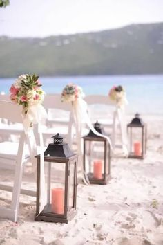 Large wedding lanterns - Perfect with colorful candles or ribbons / starfish to decorate the tops. Very romantic look for twilight wedding!