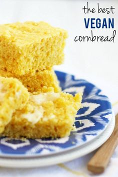 The best vegan cornbread recipe! Moist, fluffy, flavorful, and perfect alongside chili or soup! #vegan