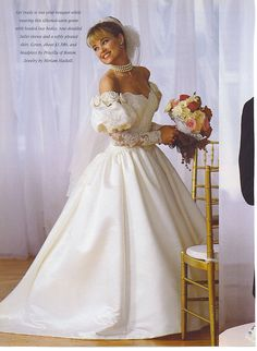 Very similar to my wedding dress. Mine was not off the shoulder nor did it have the roses or the lace longer sleeves. 1980s Wedding Dress, Puffy Wedding Dresses, Retro Wedding Dresses, Vintage Gowns, Vintage Bridal, Bridal Gowns, Wedding Gowns, Wedding Attire, Bridal Style