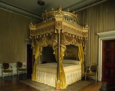 The State Bed in the State Bedchamber at Osterley, showing the eight-poster bed designed by Adam in 1775-76, conceived as a Temple of Venus (as found in classical gardens).
