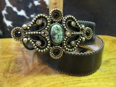 Rusty Spur Couture Leatherock Black and Turquoise Leather Belt - 9109, ,