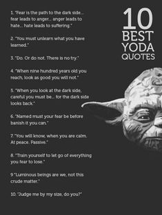 Grand Jedi Master Yoda Quotes will inspire you to reach your full potential. Let discover The Greatest Quotes of Wisdom From Yoda now! Yoda Quotes Funny, War Quotes, Warrior Quotes, Movie Quotes, Wisdom Quotes, Life Quotes, Fear Leads To Anger, Jolie Phrase, Most Famous Quotes