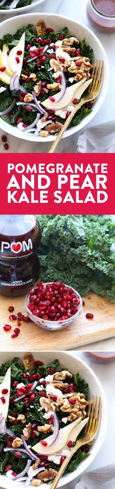 Not only is this kale salad colorful, but it's flavorful too! This Pomegranate and Pear Kale Salad is made with a homemade POM Vinaigrette and topped with fresh pomegranate arils, pear slices, walnuts, and goat cheese. YUM.