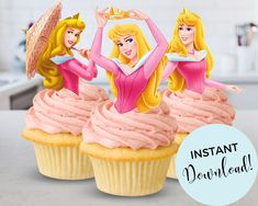 Princess Aurora Party, Disney Princess Cupcakes, Princess Cupcake Toppers, Sleeping Beauty Party, Disney Sleeping Beauty, Disney Party Decorations, Birthday Party Themes, Note, Decorating Ideas