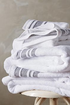 Herringbone-Bordered Turkish Cotton Towel Collection - anthropologie.com