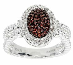 AffinityDiamond 1/4 cttw Pave Color Oval Ring Sterling