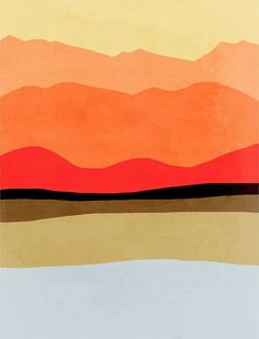 Bold reds, oranges and yellows make this print stand out in any space in your home. Modern abstract landscape of mountains. This print is available in larger sizes to fit any space.  Get this print in discounted set: http://www.etsy.com/listing/122733527  • Limited editions of 50 and each print will come signed and numbered • Available sizes: 18x24, 20x30, 24x30, 24x36 or 30x40 • 1 inch white border included in size • Printed on 100% cotton, 330gsm, archival matte finish p...
