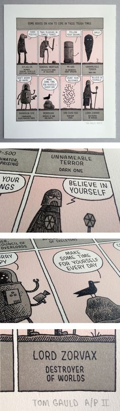 "Tom Gauld print from ""You're Just Jealous of my Jetpack."" Print entitled ""Some advice on how to cope in these tough times."""