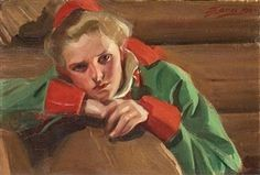 """Artwork by Anders Zorn, """"Morakulla"""" (Girl from Mora), Made of Canvas laid down…"""