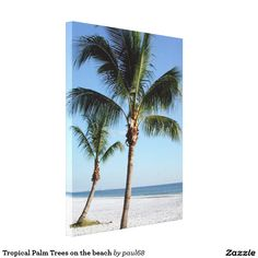 Tropical Palm Trees on the beach Canvas Print