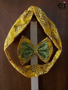 Faixa turbante regulável Amarela para Mães - M: R$25 Laço Amarelo e Verde para Filhas - M: R$12