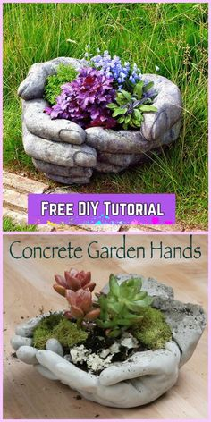 DIY Hand Cupped Concrete Garden Planter Tutorials - DIY DIY Concrete Garden Hands Tutorial video